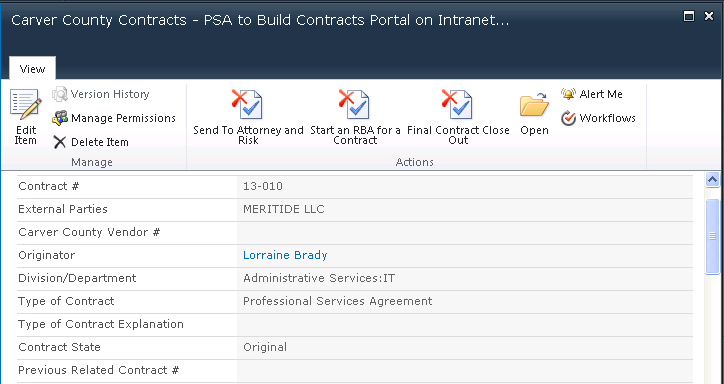 Carver County SharePoint Contract Management 1
